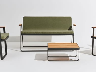 Teak garden bench with armrests MAKEMAKE | Teak garden bench
