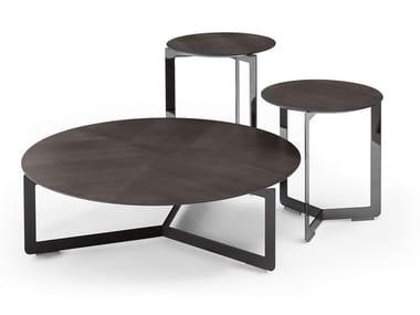 Mesa de centro redonda de madeira multi-camada MALIBÙ | Mesa de centro de madeira multi-camada