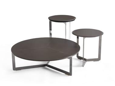 Mesa de centro redonda de couro MALIBÙ | Mesa de centro de couro