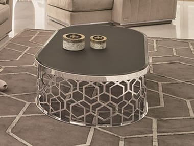 Oval mirrored glass coffee table MANFRED | Oval coffee table
