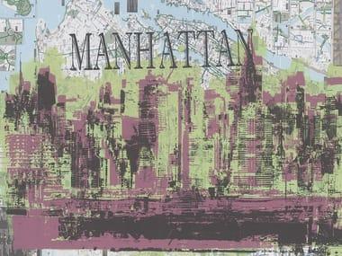 Papel de parede de tecido não tecido com mapa com paisagem MANHATTAN