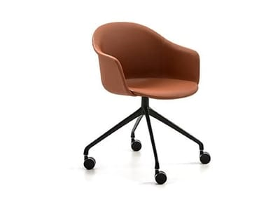 Trestle-based fabric office chair with castors MÁNI ARMSHELL FABRIC HO/4