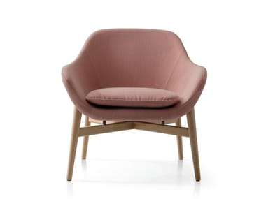 Upholstered fabric lobby chair with armrests MANTA | Armchair