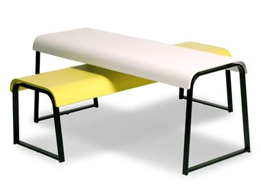Sled base lacquered beech coffee table MANU 18