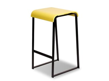 High lacquered sled base beech stool MANU 20