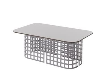 Garden coffee table with HPL top and iron base MARA   Rectangular coffee table