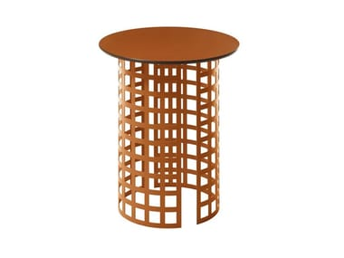 Round garden table with HPL top and iron base MARA   Round coffee table