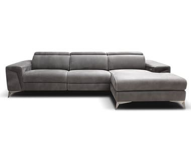 Divano reclinabile in pelle con chaise longue MARA | Divano con chaise longue
