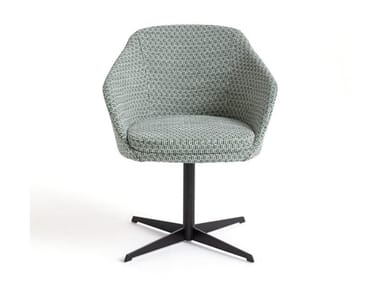 4-Speichen- Stuhl aus Stoff mit Armlehnen MARFA | 4-Speichen- Stuhl