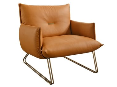 Sled base leather armchair MARGOT
