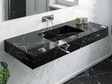 Single Nero Marquina marble washbasin with integrated countertop MARQUINA C1 | Single washbasin