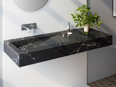 Rectangular Nero Marquina marble washbasin with integrated countertop MARQUINA C3