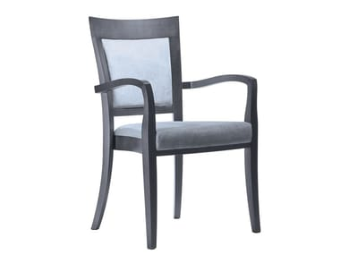 Upholstered stackable fabric chair with armrests MARTA PO02