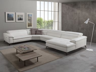 Corner relaxing leather sofa with electric motion MARTINE | Corner sofa