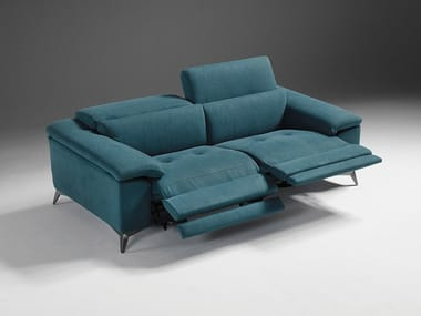 Relaxing fabric sofa with removable cover with electric motion MARTINE | Fabric sofa