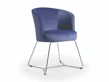 Cadeira estofada de tecido MARY METAL SLIDE