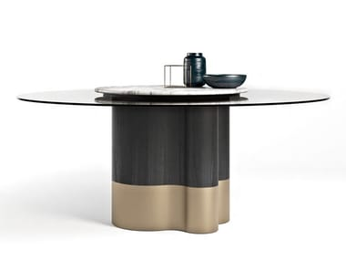 Wood and glass table with Lazy Susan MARYGOLD