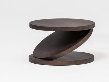 Low round multi-layer wood coffee table MATCH POINT | Low coffee table