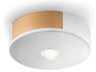 Ceramic and wooden ceiling light MATECA | Ceiling light