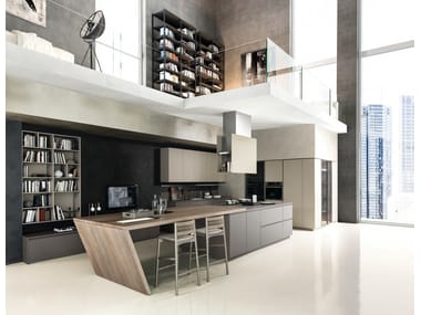 Kitchen with island with integrated handles MATERIKA | Kitchen with island