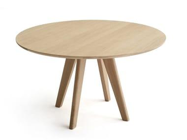 Tavolo rotondo in MDF e legno massello MATHILDA | Tavolo rotondo
