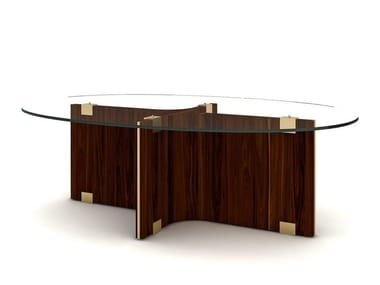 Oval wood and glass coffee table for living room MAXIME   Oval coffee table