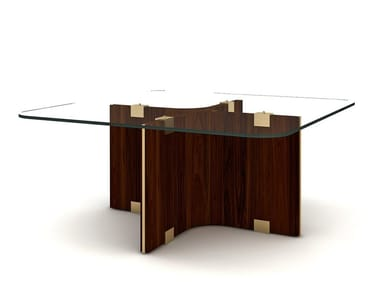 Square wood and glass coffee table MAXIME | Square coffee table