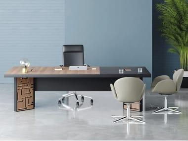 Wooden and painted metal executive desk MAZE