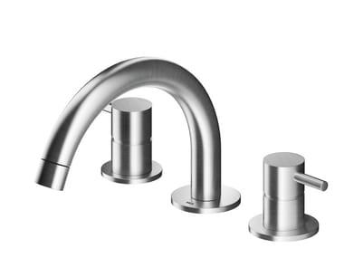 Mitigeur lavabo 3 trous à poser en acier inoxydable MB249 | Mitigeur lavabo