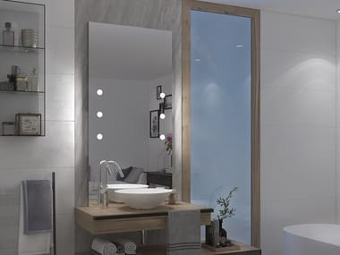 Rectangular wall-mounted mirror with integrated lighting MDE CONTRACT B70.6