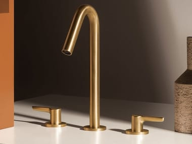 Countertop brass washbasin mixer with individual rosettes MEDAMEDA ZMM5506