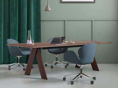 Tavolo da riunione rettangolare in legno impiallacciato MELIADES | Tavolo da riunione