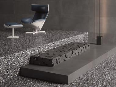 Porcelain stoneware wall/floor tiles terrazzo effect MEDLEY DARK GREY