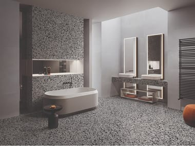 Grey porcelain stoneware wall/floor tiles terrazzo effect MEDLEY GREY
