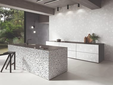 Porcelain stoneware wall/floor tiles terrazzo effect MEDLEY WHITE
