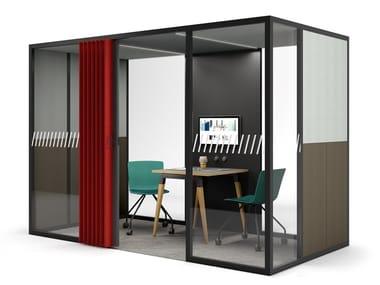 Isola ufficio acustica con illuminazione integrata per meeting FLEXCAB | Isola ufficio per meeting