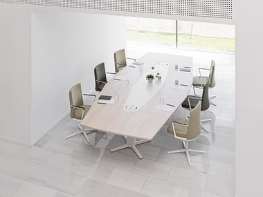 Height-adjustable rectangular melamine meeting table POWER | Meeting table