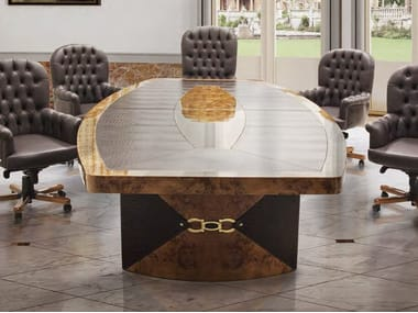 Oval leather meeting table WOLLY