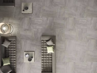 Porcelain stoneware flooring with stone effect MEGAGREY