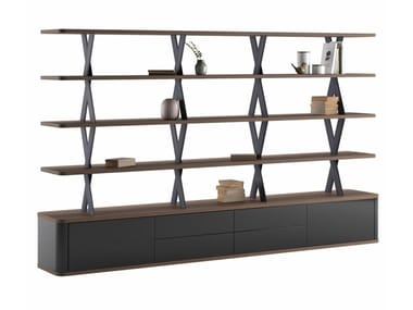 Open double-sided wood veneer bookcase with drawers MELIADES | Bookcase