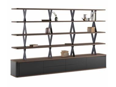 Libreria a giorno bifacciale in legno impiallacciato con cassetti MELIADES | Libreria