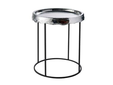 Round Thermoformed glass coffee table with tray MELT | Round coffee table