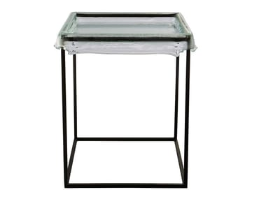 Square Thermoformed glass coffee table with tray MELT | Square coffee table