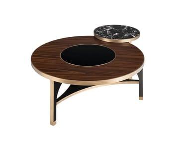 Tavolino basso rotondo in legno MEMPHIS