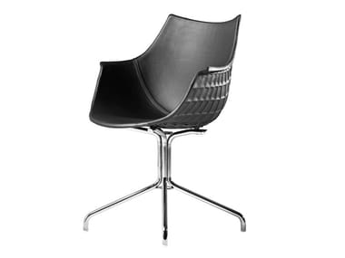 Polycarbonate and leather chair with armrests MERIDIANA | Trestle-based chair