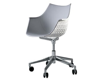 Swivel polycarbonate and leather chair with castors MERIDIANA | Swivel chair