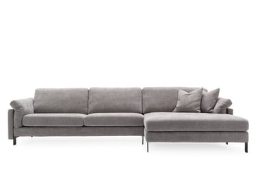 Fabric sofa with chaise longue MERIDIEN