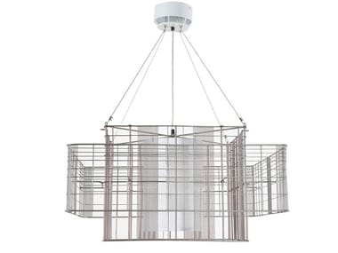 Direct-indirect light metal pendant lamp MESH CUBIC L