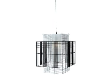 Direct-indirect light metal pendant lamp MESH CUBIC M