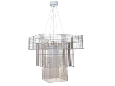 Direct-indirect light metal pendant lamp MESH CUBIC XL